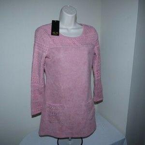 Kin Yu Pink Long sleeves Faux Suede dress/Top